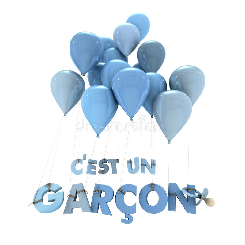 French baby boy birth announcement. 3D rendering of the words Its a boy in French hanging from balloons royalty free illustration