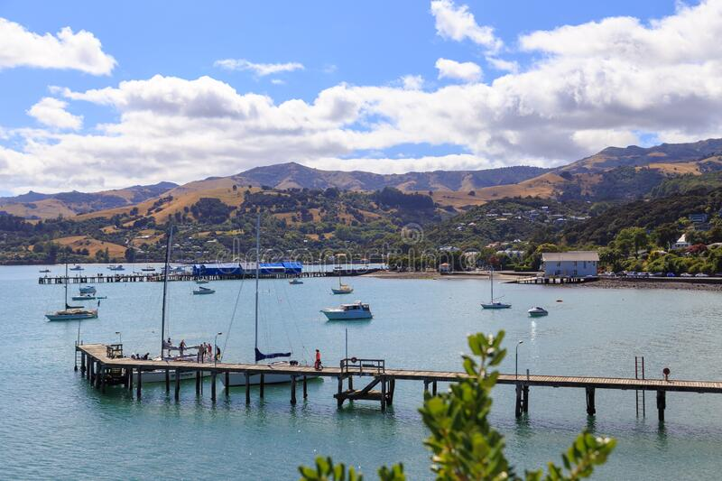 French Bay and Childerens Bay near Akaroa stock images