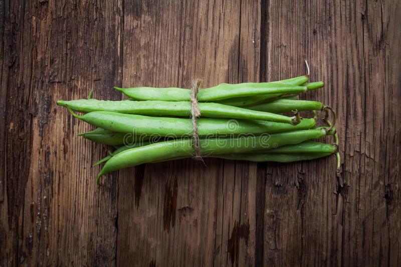 French bean on old background. French bean on old rustic background stock images