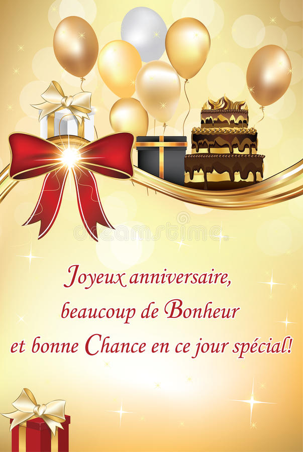 French Birthday Greeting Card Stock Vector Illustration Of