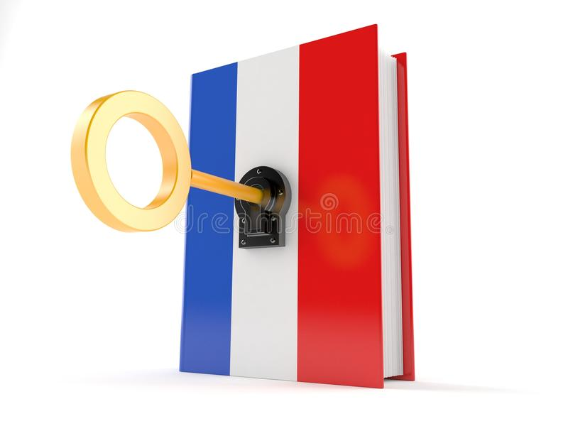 French book with key. Isolated on white background stock illustration