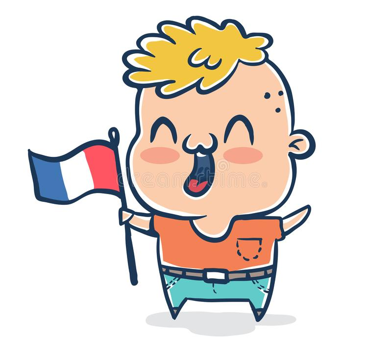 French boy with flag of France. Vector illustration of a French boy with flag of France. Protest in France royalty free illustration