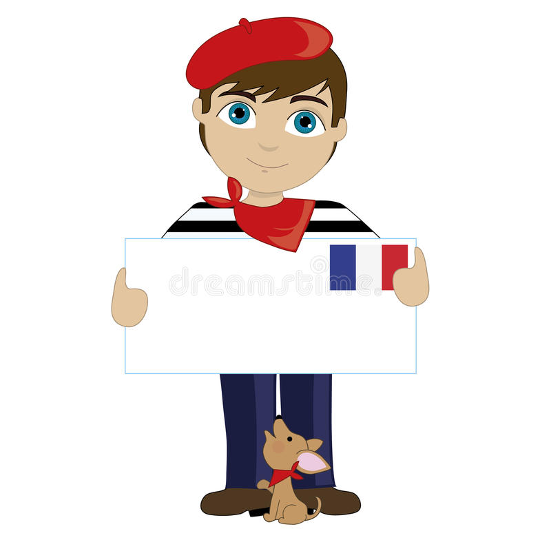 French Boy Sign. A little boy is dressed in a traditional French costume and holding a sign that looks like a big letter with the French flag in the upper right stock illustration