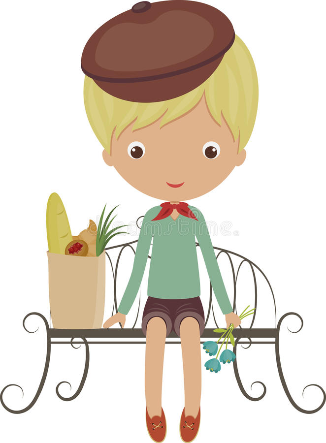 French boy. Sitting on a bench with a packet from grocery store and flowers royalty free illustration