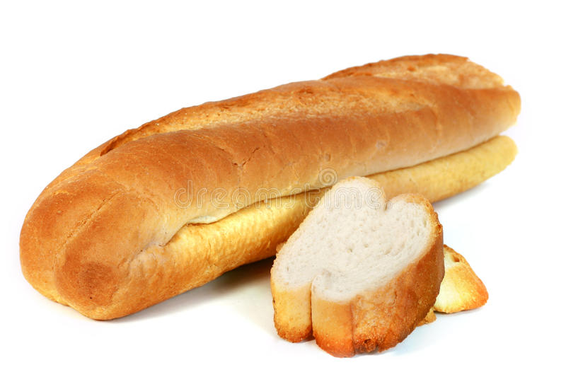 French Bread. Isolated with white background royalty free stock image