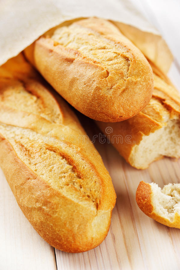 French bread. A pack pf French bread on the light background stock image