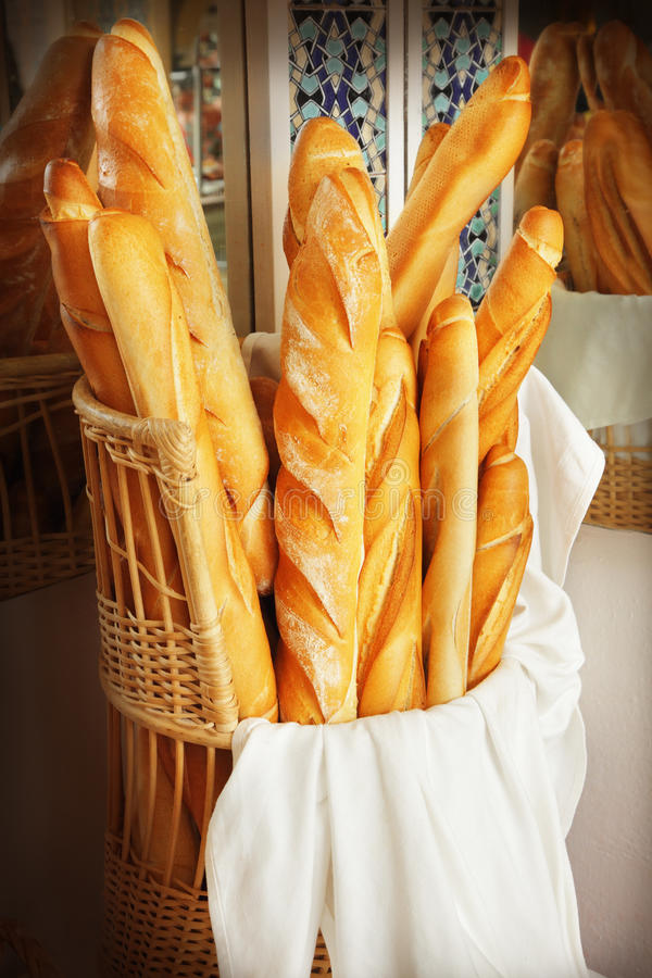 French bread. Closeup of some French baguette bread royalty free stock photos