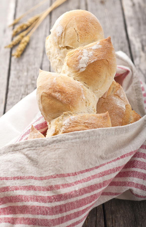 French bread. Homemade french bread on wood table royalty free stock photos