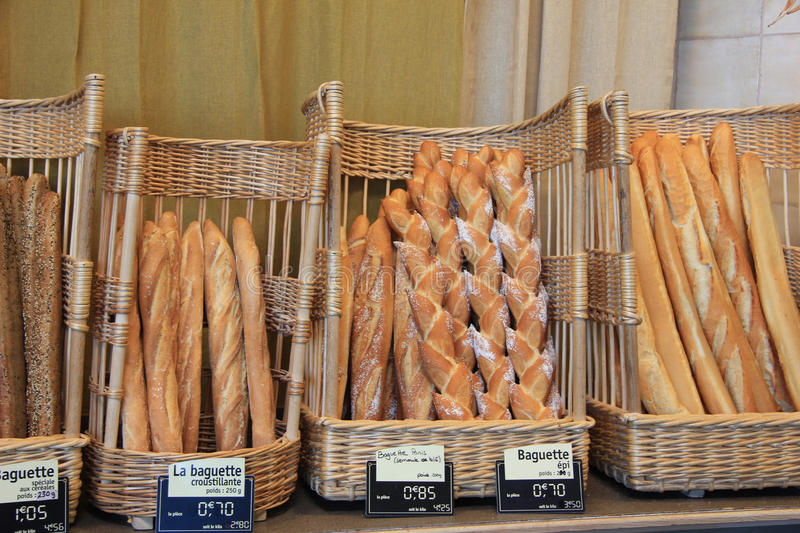 French bread in a shop stock photos