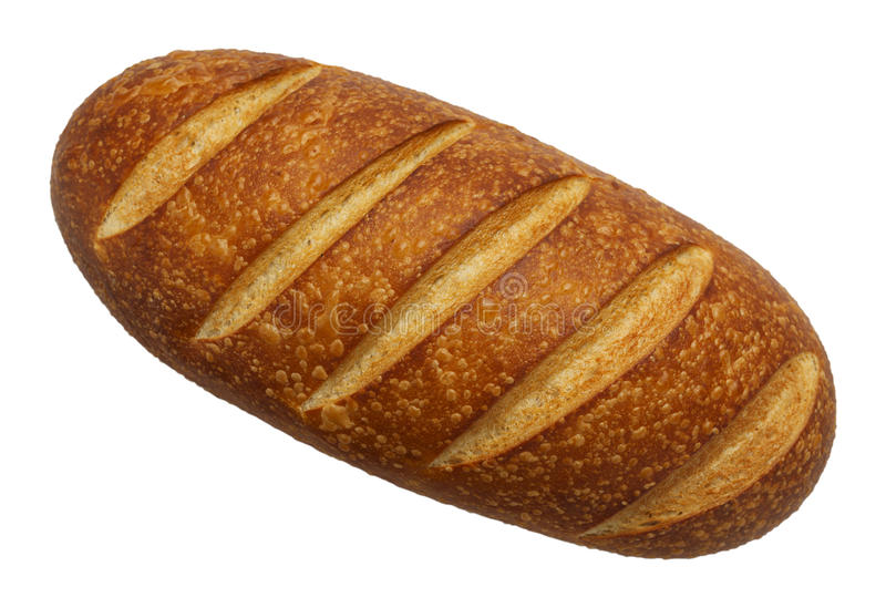 French Bread Top. Large Loaf of French Bread Top View Isolated on White Background stock image