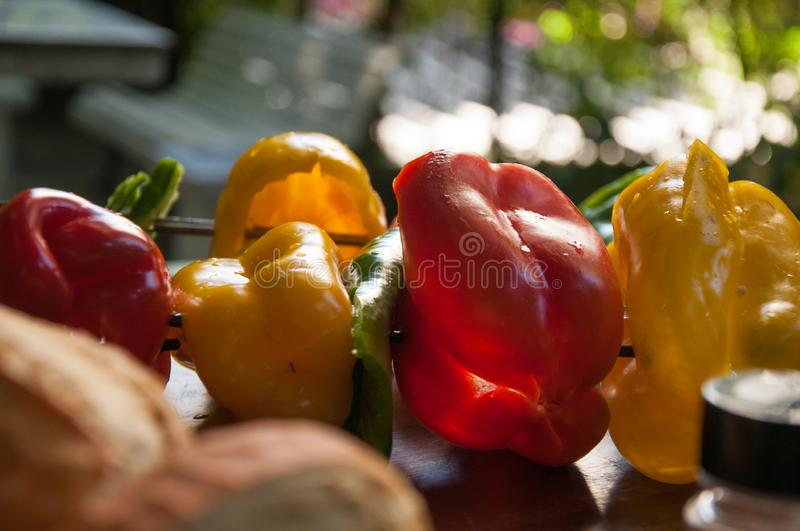 Bell pepper, zucchini and fresh vegetables skewer royalty free stock photos