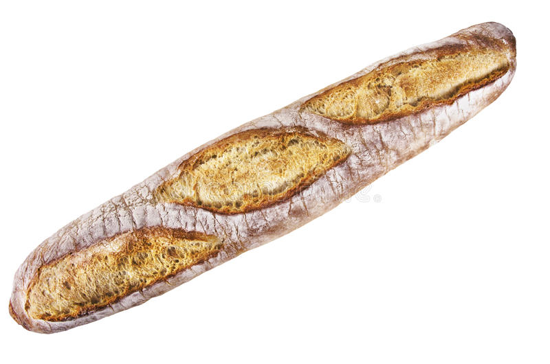 French bread. Whole french bread isolated on white background stock photography