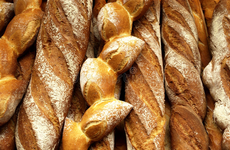 French breads in a bakery stock photos