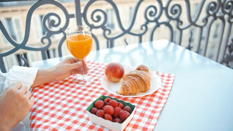 French breakfast on the balcony royalty free stock images