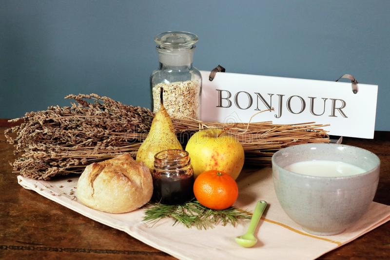 French breakfast bonjour word good morning countryside hotel. The word bonjour in french, good morning. An elegant B & B country style in Provence, france. The stock photography