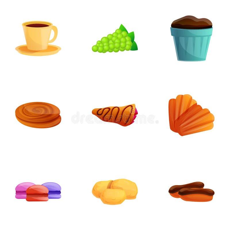 French breakfast icon set, cartoon style stock illustration