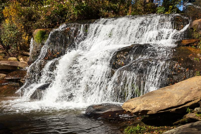 French Broad Shoals waterfall in North Carolina in early fall. royalty free stock image