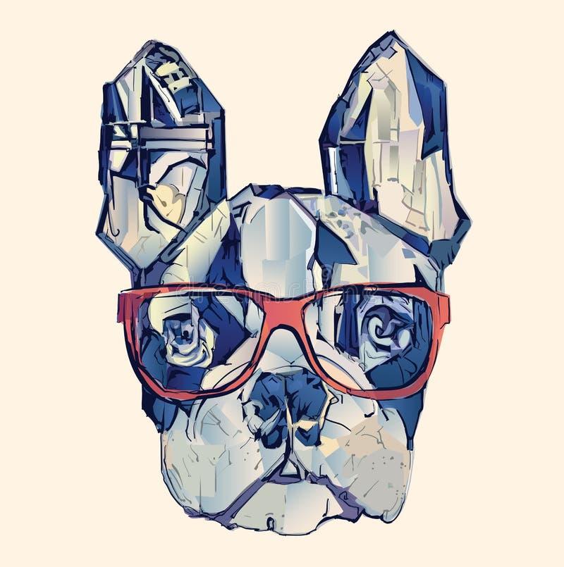 French bulldog in blue. Vector illustration royalty free illustration