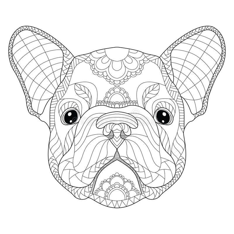 French bulldog puppy head zentangle stylized, vector, illustration, freehand pencil, pattern. Zen art. Black and white royalty free illustration