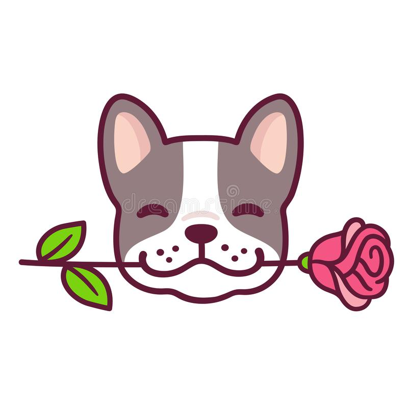 French Bulldog with rose. Funny cartoon French Bulldog puppy holding rose in mouth. Cute Valentines day dog greeting card vector illustration royalty free illustration