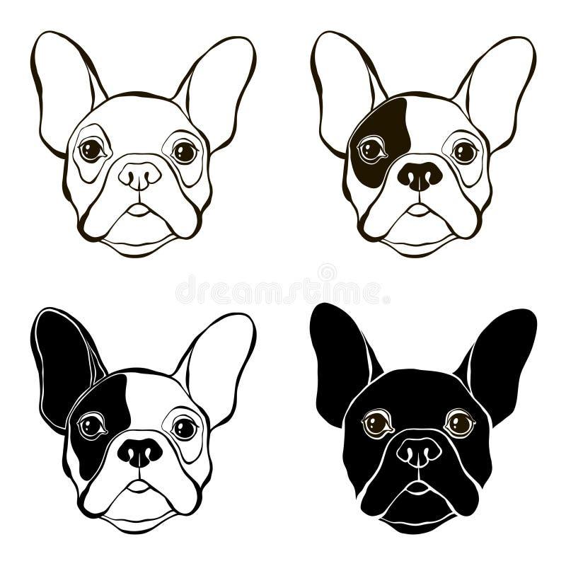 French Bulldog. Vector set of bulldog's face. Hand-drawn. French Bulldog. Vector illustration, elements for design royalty free illustration