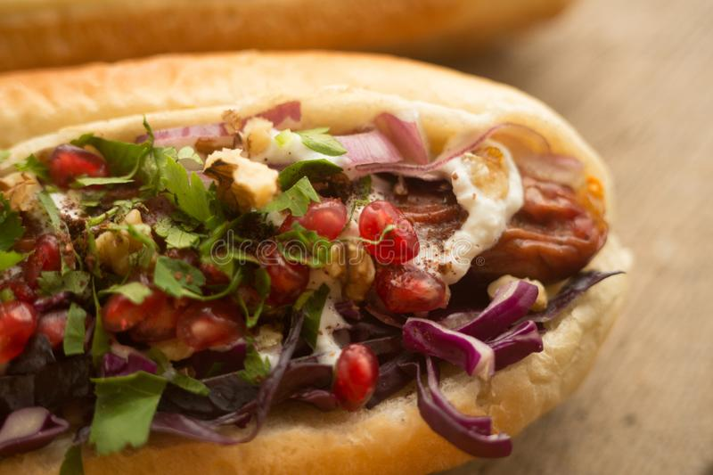French bun sandwich with sausage and onion stock image image of french bun sandwich with griled sausage and onion easy fast food recipe for home cooking snack for people who doesnt afraid to get fat forumfinder Images