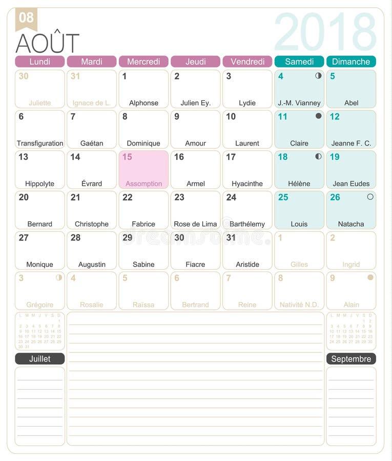 august monthly calendar 2018