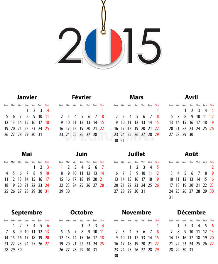 French Calendar grid for 2015 with flag like tag stock illustration