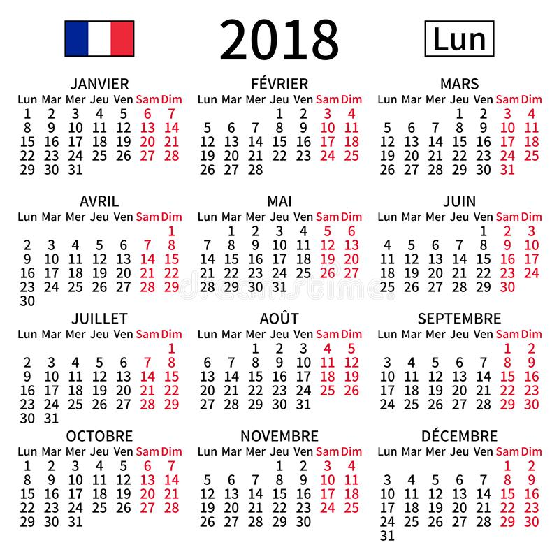 French calendar 2018, Monday royalty free stock image