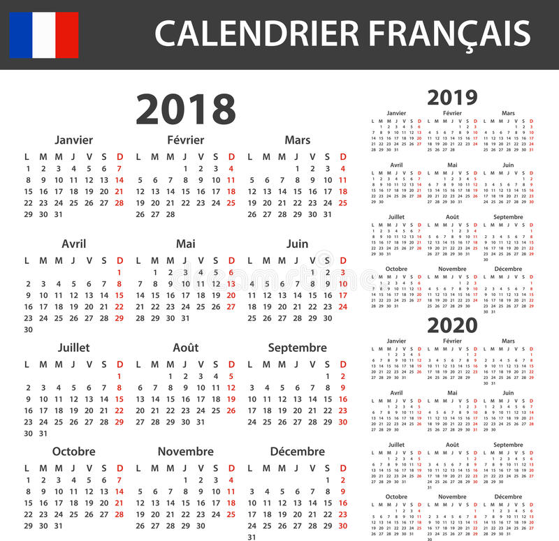 French Calendar for 2018, 2019 and 2020. Scheduler, agenda or diary template. Week starts on Monday.  vector illustration