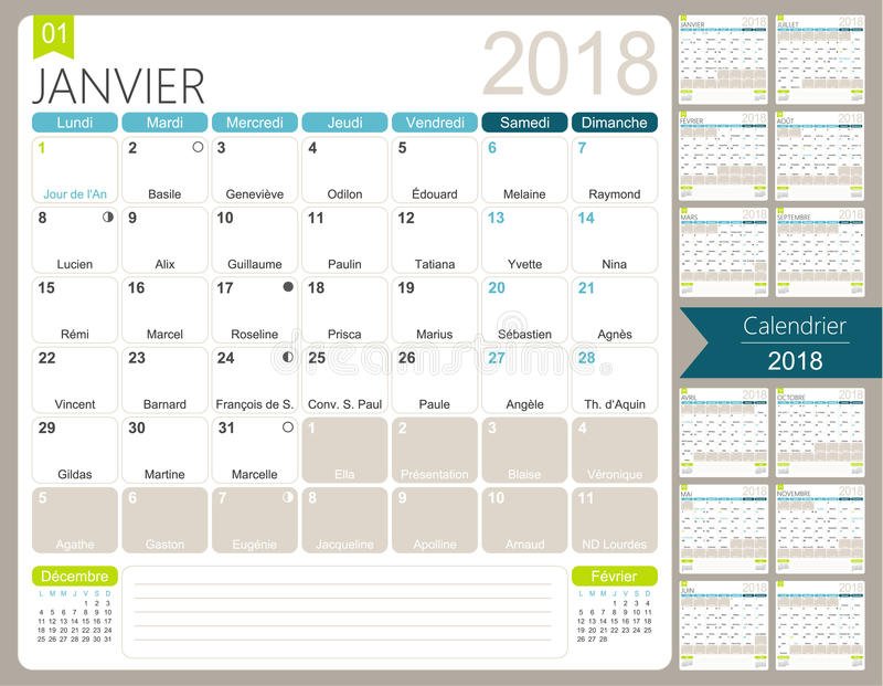 French Calendar 2018 Stock Vector Illustration Of Calender 90210155