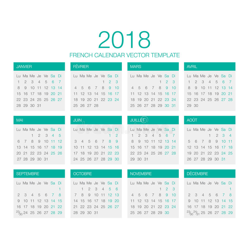 French Calendar Vector 2018 royalty free stock images