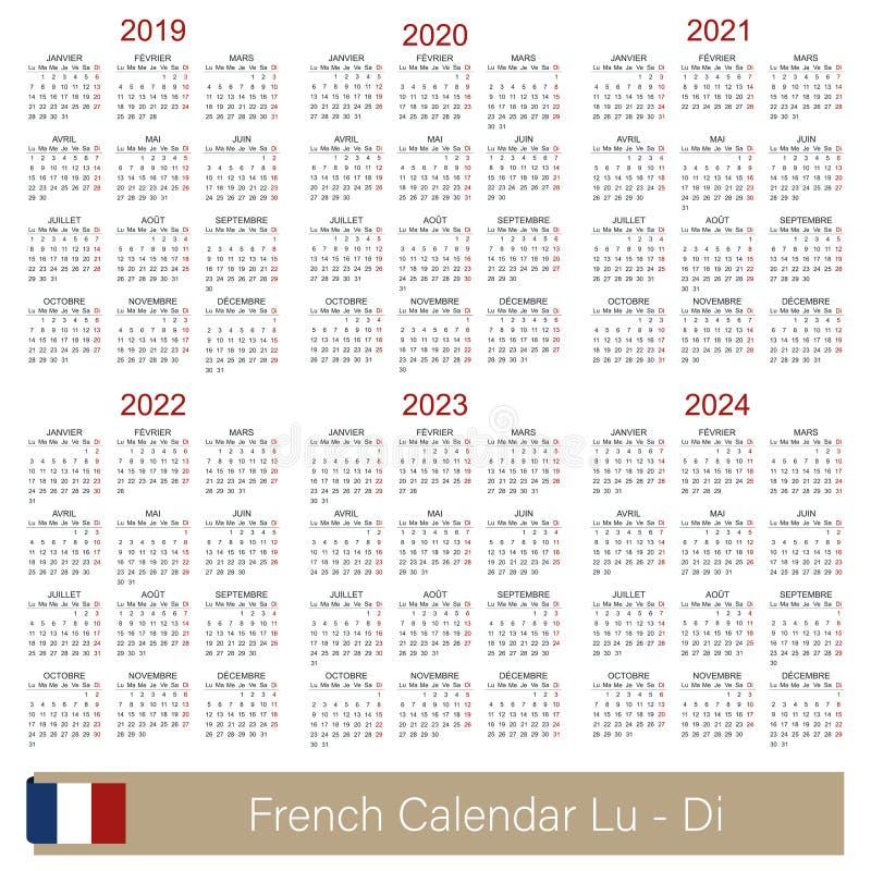 Calendar 2019-2024 royalty free illustration