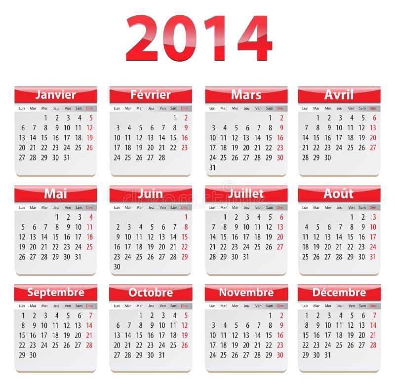 2014 French calendar stock illustration
