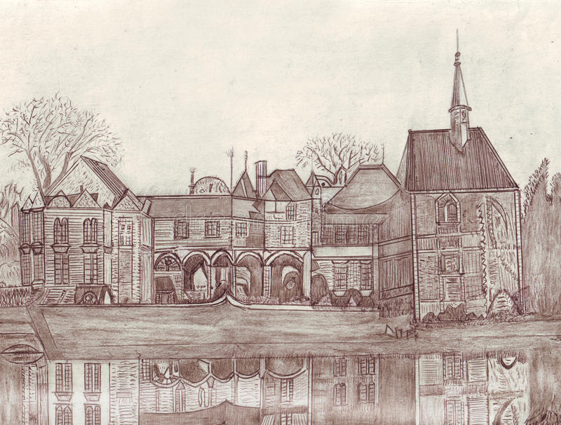 French castle. A sketch realized by hand with the pencils and with the pen. French castle royalty free illustration