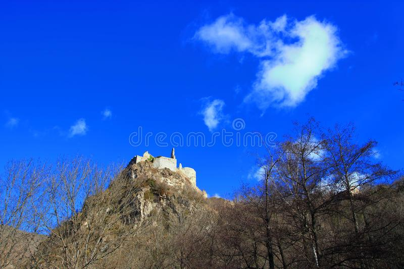French castle of Usson in Ariege. Occitanie in south of France stock images