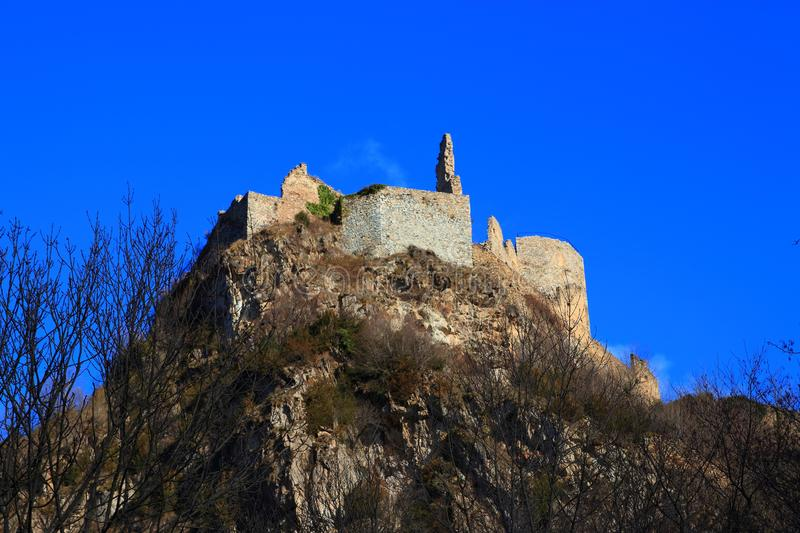 French castle of Usson in Ariege. Occitanie in south of France stock photography