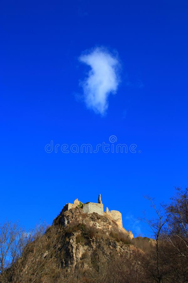 French castle of Usson in Ariege. Occitanie in south of France stock photos
