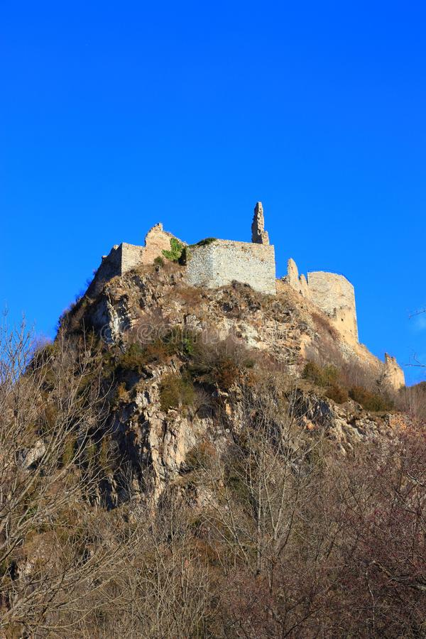French castle of Usson in Ariege. Occitanie in south of France royalty free stock photo