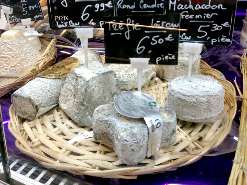 French cheese - Goat cheese. A selection of french cheese on a cheeseboard stock image