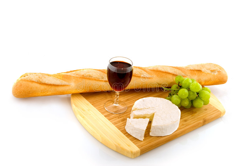 French cheese with red wine stock image