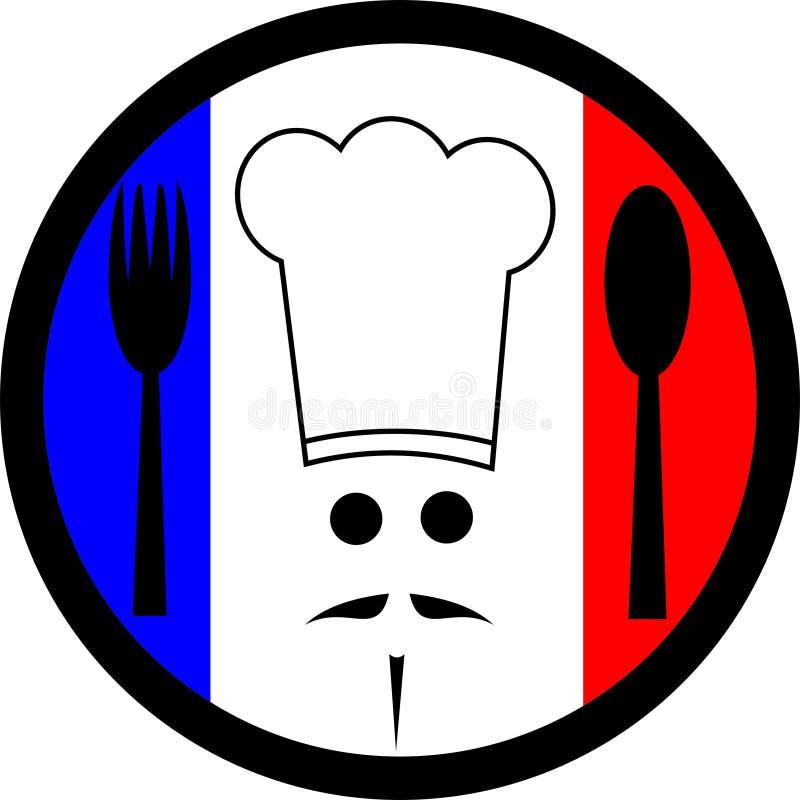 French chef. Circular logo representing French cuisine stock illustration