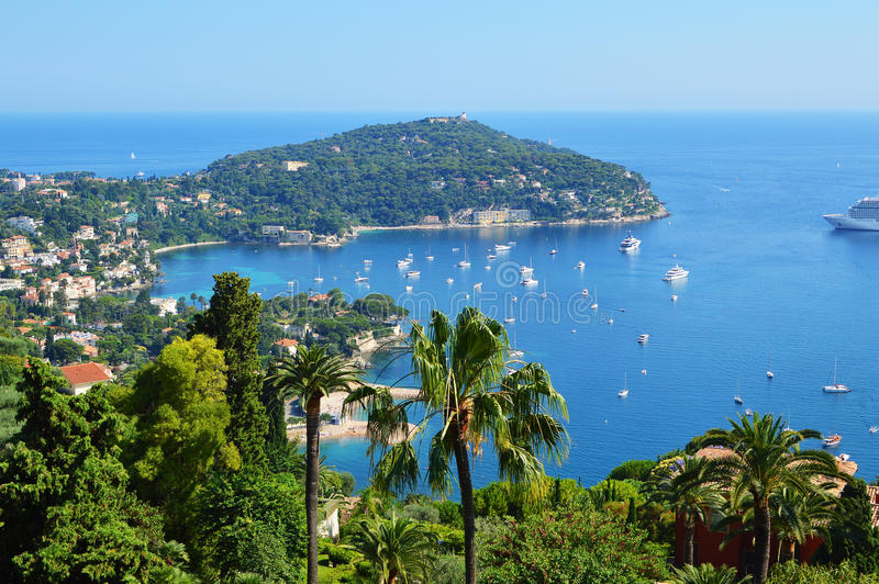 French coast. Cote d'azur palm yacht stock images