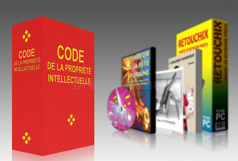 French Code of Intellectual Property. Protecting the copyright of creators of intellectual work stock illustration