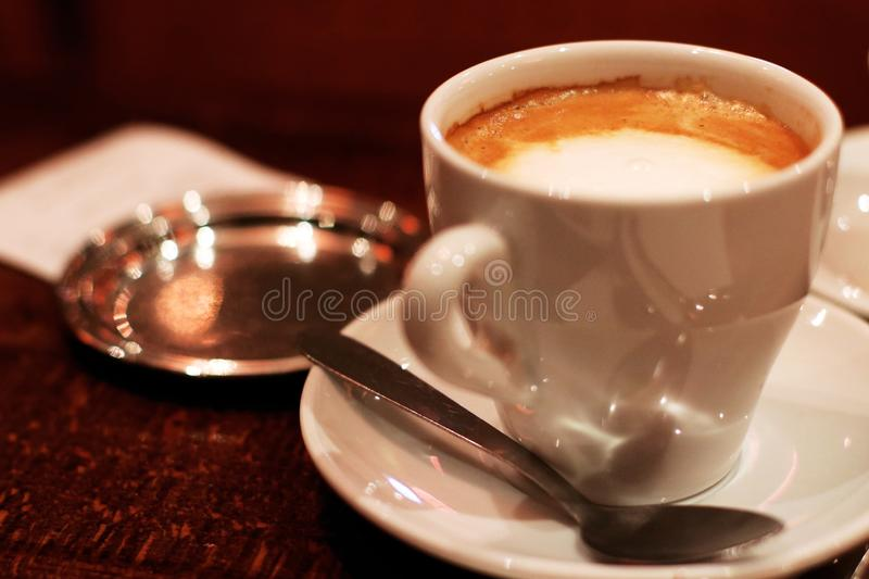 coffee with milk French Café au Lait Business Coffee break in Paris. Cup, caffeine. royalty free stock image