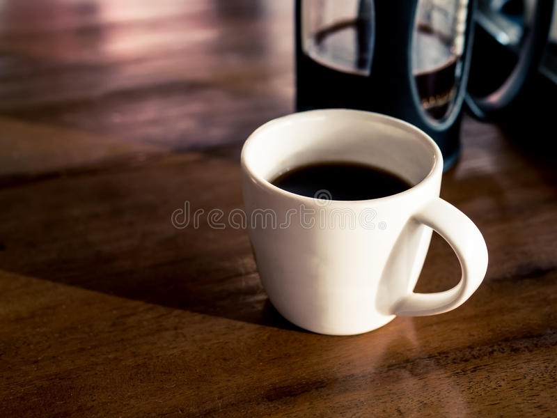 French coffee press with freshly brewed coffee royalty free stock photography