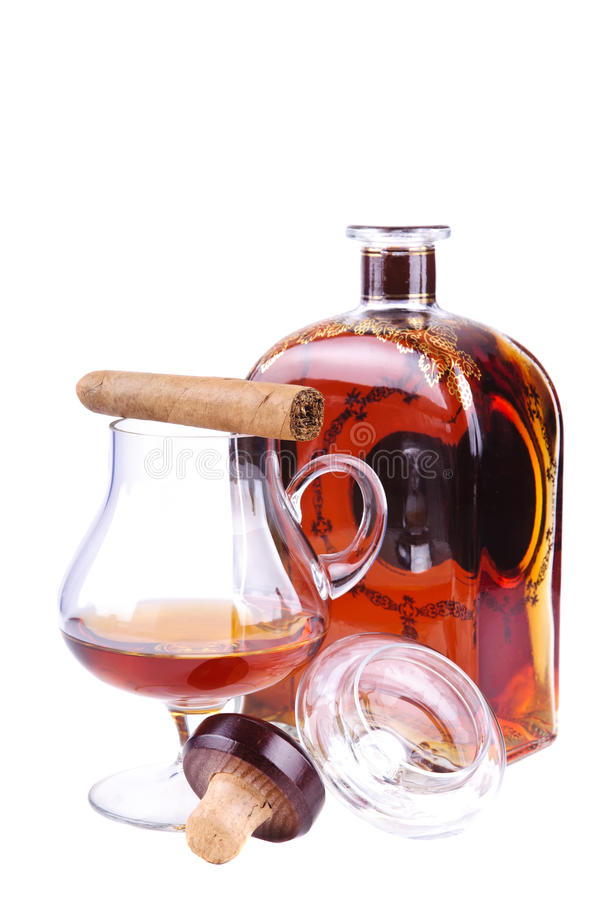 French cognac and cuban cigar stock photo