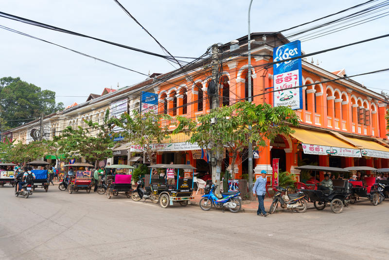 French colonial architecture in Siem Reap stock images