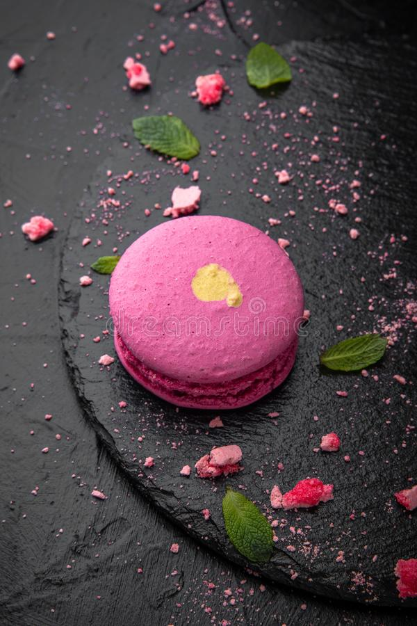 French Colorful Macarons on Black Background stock photos