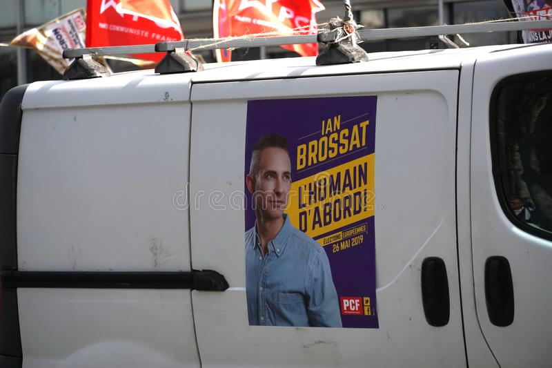 French Communist Party election poster. Paris, France - March 19, 2019: PCF Poster promoting the candidate Ian Brossat. The French Communist Party French: Parti stock photos